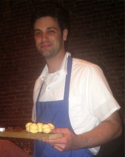 Chef Steven Caravelli with the fourth course - ROBIN WHEELER