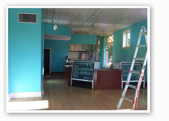 The in-progress interior. | Amy's Corner Bakeshop