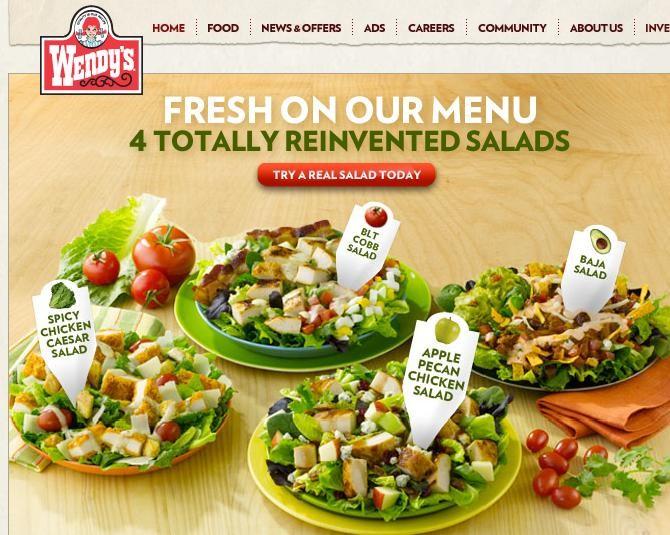 """Wendys Menu Salads Wendy's """"Reinvent..."""