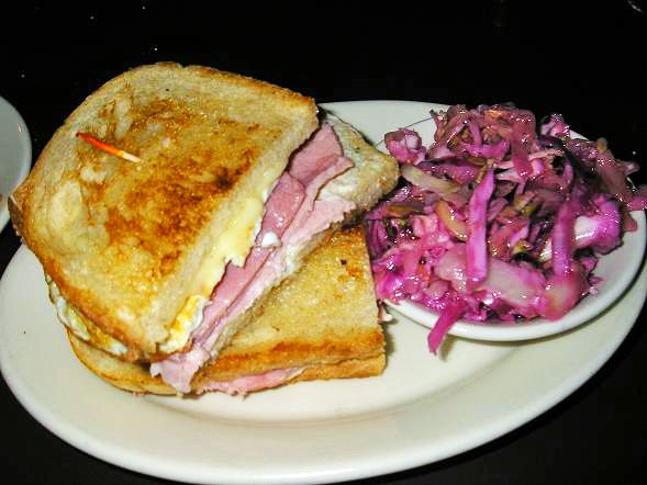 Schlafly Tap Room's Fried Egg and Ham Toastie, with side of vinegar slaw - IAN FROEB