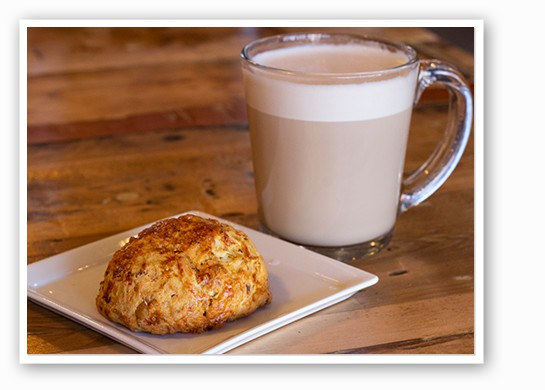 Whisk's apple-cheddar scone and Rise's chai ($4). | Mabel Suen
