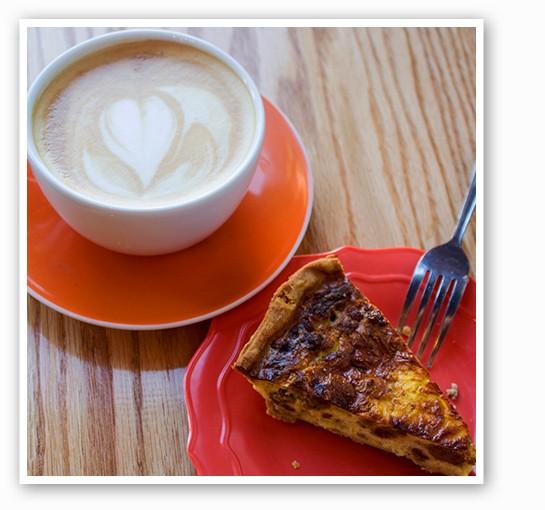 Latte with Whisk's quiche. | Mabel Suen