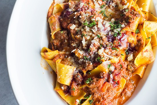 """""""Tagliatelle degli 'Asinelli,'"""" homemade pasta ribbons in Chianti and rosemary meat sauce. 