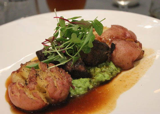 Oktoberfest-braised lamb with mint-pea puree, crash hot potato and braising jus. | Nancy Stiles