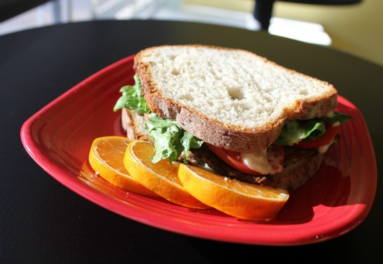 A vegetarian BLT from Frida's Deli, which features the restaurant's tempeh bacon. - LIZ MILLER
