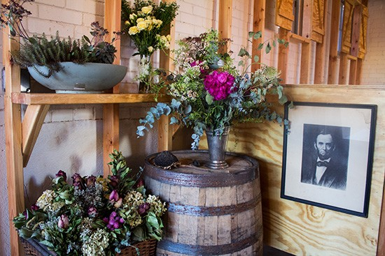 Fresh flowers and rustic decor.