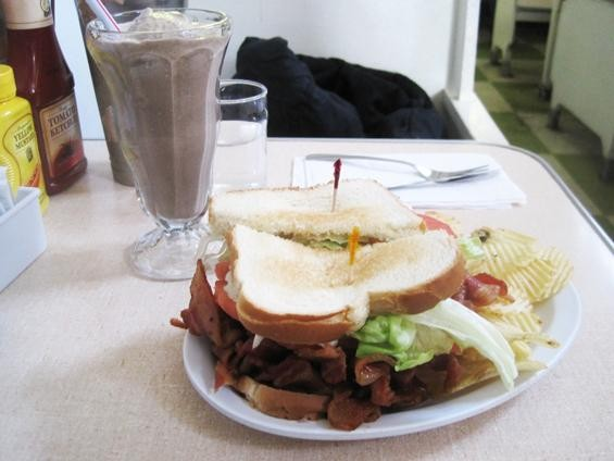 "The ""Heart Stopping BLT"" and a chocolate malt a Crown Candy Kitchen - IAN FROEB"