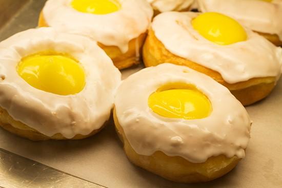 "A lemon ""topper"" doughnut."