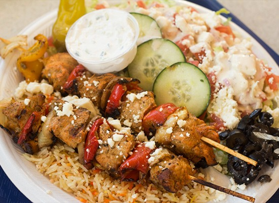 A chicken-kebab platter from St. Louis Taco & Pita Grill. | Photos by Mabel Suen