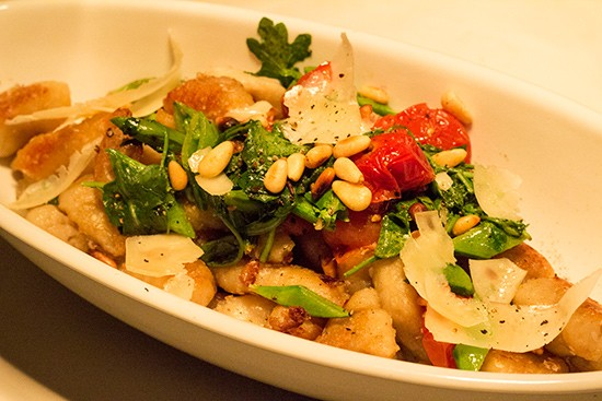Gnocchi with toasted pine nuts, roasted tomato, arugula and brown butter.