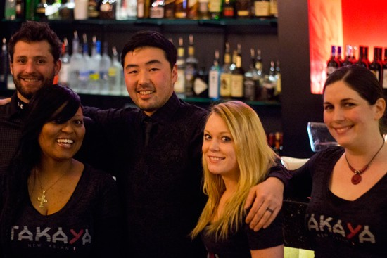 Bartender Jake Wiseman and general manager Simon Rehm with Takaya front of house staff. - MABEL SUEN