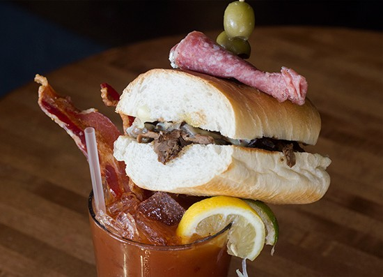 """The Gramophone's """"Bloody Island"""" ($12.50): a bloody mary with olives, bacon, salami and a roast-beef sandwich. 