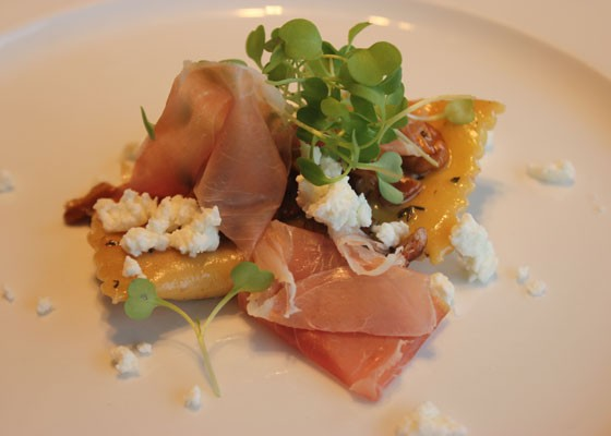 Butternut squash ravioli with house-cured prosciutto, Missouri pecans and Baetje goat cheese. | Nancy Stiles