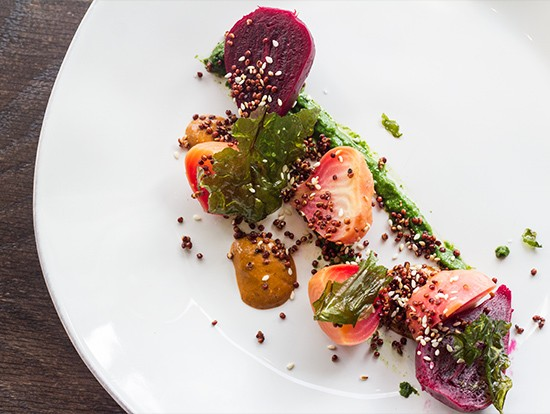 Roasted, pickled and raw beets with quinoa and white-chocolate mole.