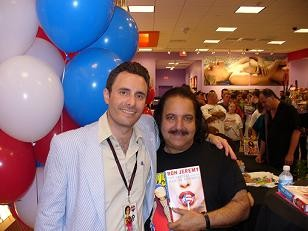 Flying Pink Pig star Ron Jeremy (right) later donated his mustache to the homeless man pictured here.