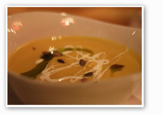 Autumn squash soup with toasted pumpkin seeds and sorghum creme fraiche. | Nancy Stiles