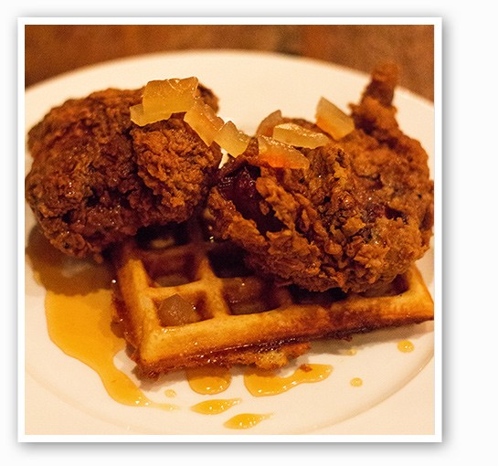 Juniper's chicken and waffles dish with pickled watermelon rind. | Mabel Suen