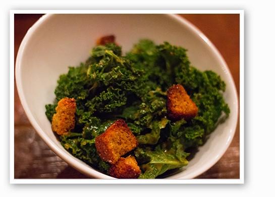 Kale salad with cornbread croutons. | Mabel Suen