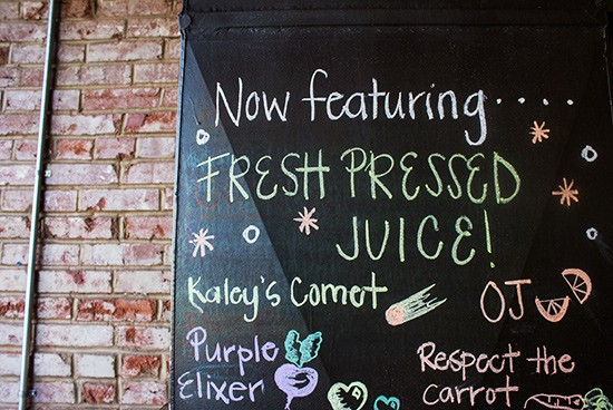 Fresh juices now available.