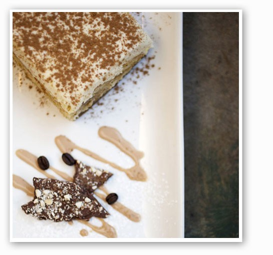 The signature tiramisu with hazelnut bark and espresso beans. | Jennifer Silverberg