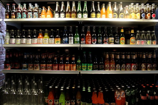 The selection of 50+ sodas available at Bailey's Range. - MABEL SUEN