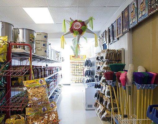 The adjoining market, or tienda, offers a fairly common (to a Mexican Market, that is) array of items. Piñatas, canned goods, brooms, etc. See photo slide show here. - PHOTO: JENNIFER SILVERBERG