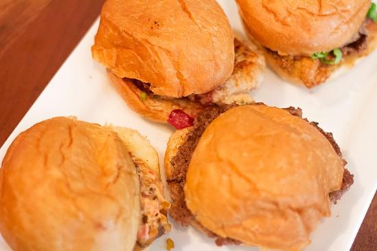 Happy-hour mini burgers.
