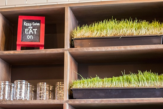 Fresh wheatgrass available as an add-on to drinks.