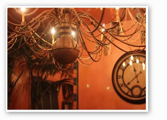 The chandelier in the Marrakech-themed women's bathroom. | Nancy Stiles