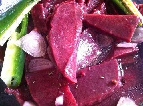 Beef Heart Swimming in Red Wine, Cola, Shallots and Jalapeno - HOLLY FANN