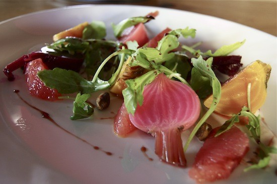 Pickled local beet salad with toasted pistachio, ruby grapefruit and spiced yogurt. - LIZ MILLER