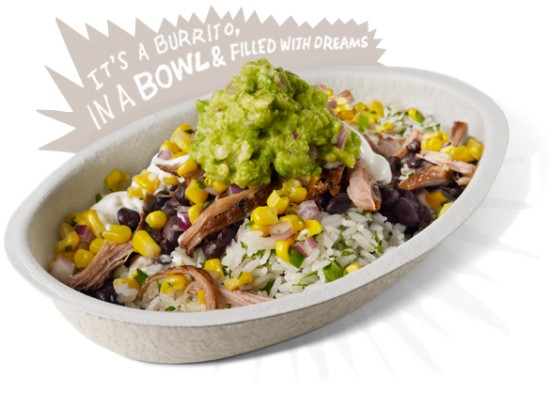 The burrito bowl marketed by Chipotle.