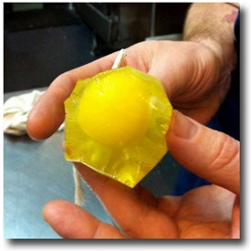 Chris Bork shows off his plastic-wrap egg-poaching skillz. Awe. Some! - HOLLY FANN