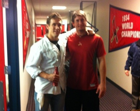 Eric Scholle of Farmhaus with World Series MVP David Freese - VIA TWITTER