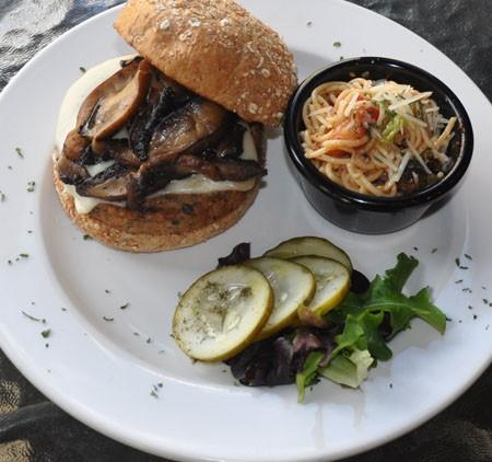 """Daubigny's Garden"" burger at Van Goghz   Tara Mahadevan"