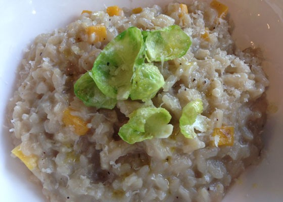 Butternut squash risotto with wilted brussel sprout petals. | Nancy Stiles
