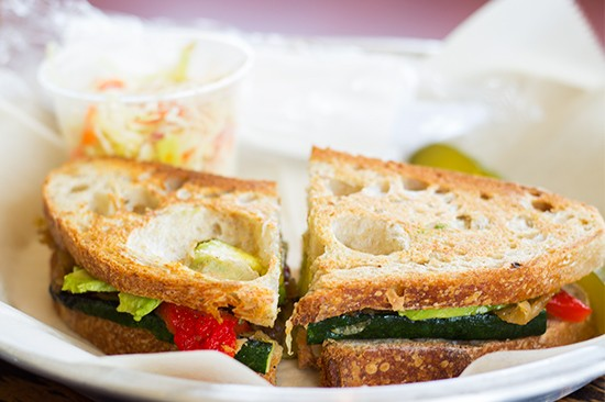 Grilled vegetable sandwich.