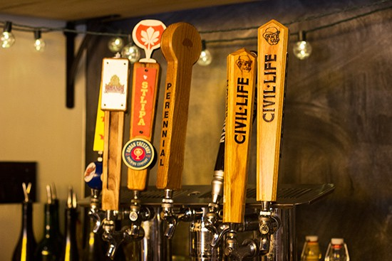 Beers on tap.