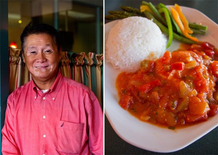 Chef-owner Emilio Bombais; Salmon with salsa rojo. - MABEL