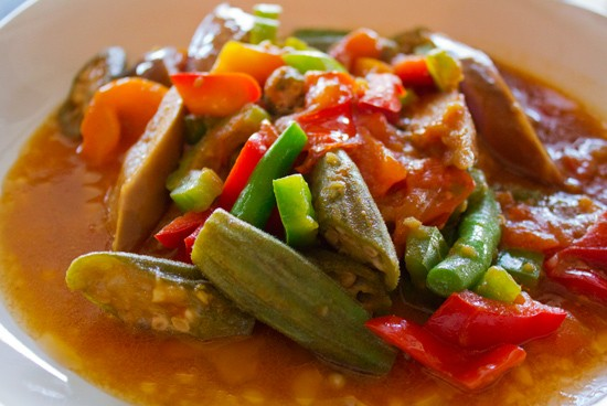 """Pinakbet"" with bitter melon, yellow squash, okra, long beans, tomato and eggplant. - MABEL SUEN"