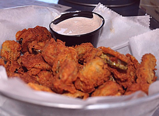 Fried pickles and peppers at the Shack Pubgrub. - TARA MAHADEVAN