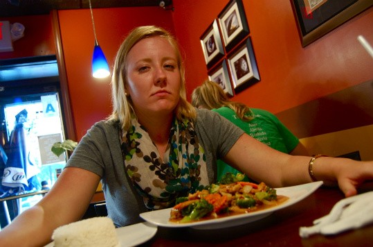 Our competitor attempts to stare down Pearl Cafe's food challenge. - ETTIE BERNEKING