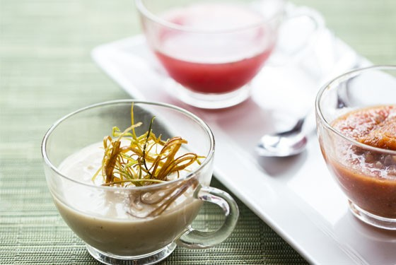 Bocci's flight of soups features vichyssoise, gazpacho, and watermelon and mint. - JENNIFER SILVERBERG