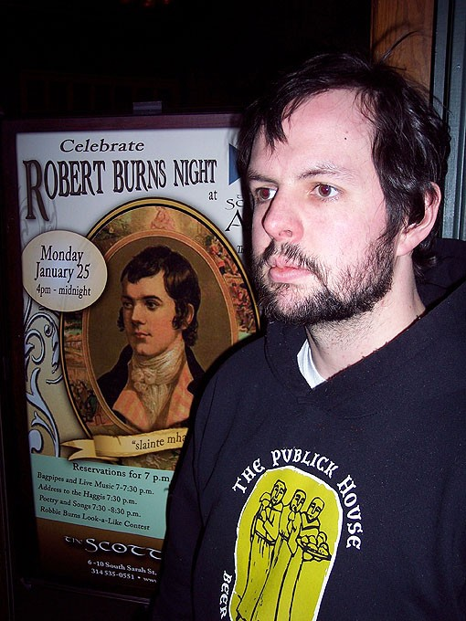 One of the few Burns look-alikes last night at the Scottish Arms. Sadly, a promised look-alike contest didn't pan out. - PHOTO: BRIAN STITT