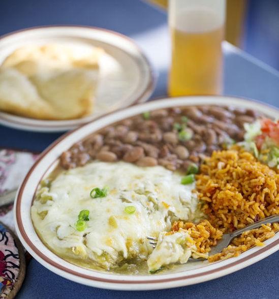 The green-chile enchiladas at Southwest Diner - JENNIFER SILVERBERG