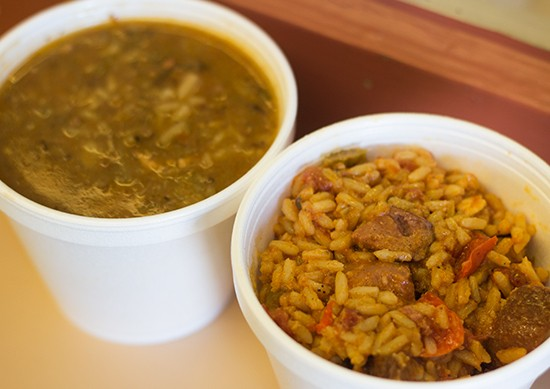 Cups of gumbo and jambalaya.