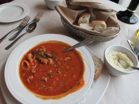 A bowl of Cafe Napoli's cioppino, a tomato-based seafood stew. - STEPHEN FAIRBANKS