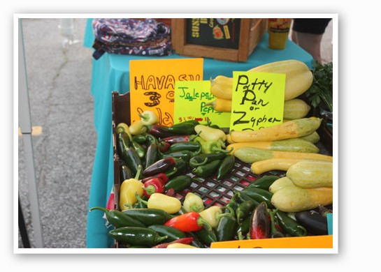 Hot peppers and squash from Blue Heron Orchard. | Cheryl Baehr