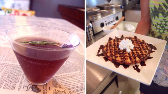 """The """"Doll Parts"""" lavender martini ($6) and """"Knockout"""" waffle ($6) at Melt. - LIZ MILLER"""