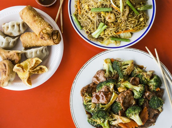 Singapore Mei Fun, Beef with Broccoli, Steamed & Fried Dumplings, Egg rolls, and crab rangoon - JENNIFER SILVERBERG